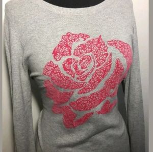 Elle Gray Pink Cute Rose Sweater
